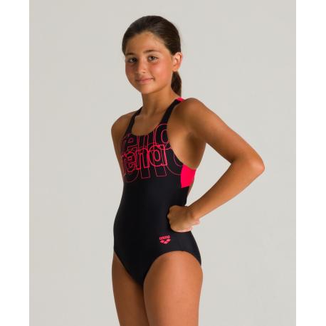Arena SPOTLIGHT (6-14ans) Junior - Swim Pro Back - Black Fluo Red - Maillot Fille Natation