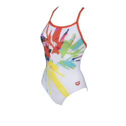 Arena CALIBRATE Light Drop Back One Piece - White Floreale - Maillot Natation Femme