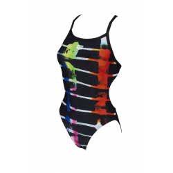 Arena SNSET STRIPES Challenge Back One Piece - Black Black Multi - Maillot Natation Femme