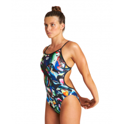 ARENA Colourful Paintings Lace Back One Piece - Black Multi