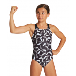 Arena G LIGHTNING COLORS (6-14ans )Junior Swim Pro Back - Black Black Multi - Maillot Fille Natation