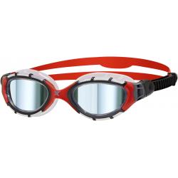 ZOGGS Predator Flex Titanium Frame Red Mirror - Regular Fit - Lunettes Triathlon et natation