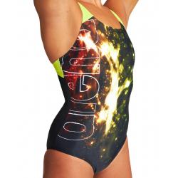 ARENA VIBRATION Swim Pro Back - Black Soft Green - Maillot Natation Femme 1 piece
