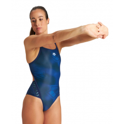 Arena ICONIC Superfly Back - NAVY SPACE BLUE MULTI - Maillot Natation Femme 1 pièce